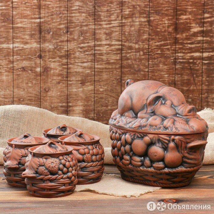 """Набор суповой """"Свинка Пикник"""", красная глина, 3л, 0.6л по цене 1980₽ - Сервизы и наборы, фото 0"""