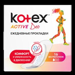 Прокладки и тампоны - Kotex Прокладки Ежедневные Аctive 16шт, 0