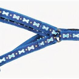 Шлейки  - УЮТ Шлейка 1,6х30--51 см синяя рисунок косточки ,двойная с тесьмой, 0