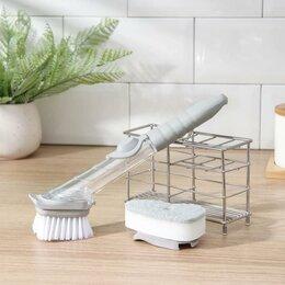 Мыльницы, стаканы и дозаторы - Щётка для мытья посуды с дозатором, 23,5?4,5 см, сменная насадка, 0
