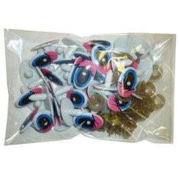 Наборы - Набор 50 винтовых глаз 25x16мм Pink-Blue с чёрным, 0