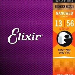 Струны - Струны для акустики Elixir 16102 NANOWEB Medium фосфорная бронза 13-56, 0