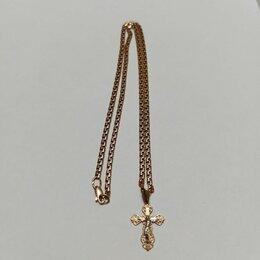 Цепи - Цепь золотая с крестиком (женская, 585), 0