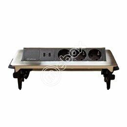 Электроустановочные изделия - Блок розеток выдвижной горизонтальный 47, 3 розетки, 2 USB, металлик, 0
