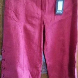 Капри и бриджи - Капри женские цвет вишнёвый лён р. 44 новые Турция, 0