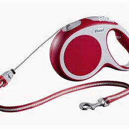 Поводки  - FLEXI рулетка VARIO M (до 20 кг) 8 м трос красная , 0