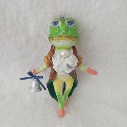 Ёлочные украшения - Лягушка, ватная игрушка ручной работы. Ёлочная игрушка., 0