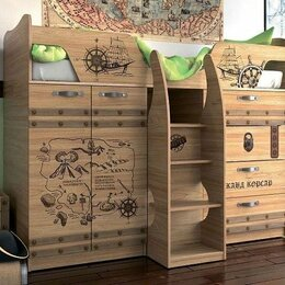 Кроватки - Кровать-чердак со столом, шкафом и комодом , 0
