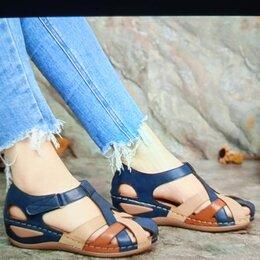 Сандалии - Женские кожаные сандалии, 0