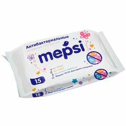 Влажные салфетки - Mepsi Влажные антибактериальные салфетки 15шт 15шт, 0