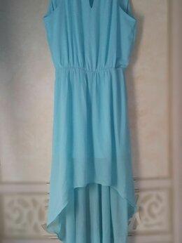 Платья - нежно-голубое шифоновое платье   , 0