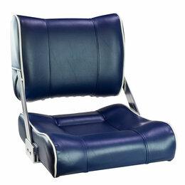 Плетеная мебель - Кресло с перекидной спинкой, обивка синий винил с белым кантом, 0