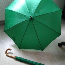 Зонты и трости - Зонт трость зеленый. Дерев ручка. , 0