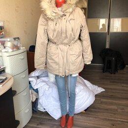 Куртки - Парка с искусственным мехом тёплая , 0