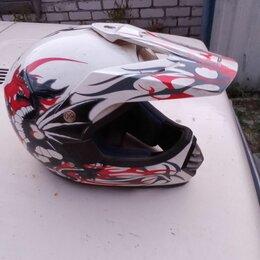 Мотоэкипировка - Шлем,фулфейс белый кроссовый, 0