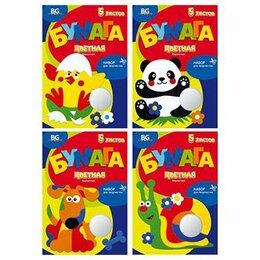 Подарочная упаковка - Бумага цветная  А4   бархатная 5 л. 5 цв. «БиДжи» бархатные игрушки 5504, 0