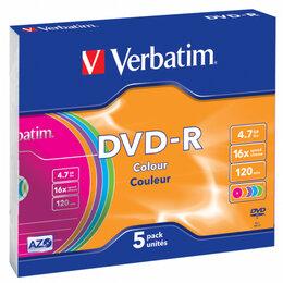 Диски - Verbatim Диск DVD-R Verbatim 4.7Gb 16x Slim case (5шт) Color (43557), 0