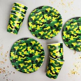 Наборы для пикника - Набор бумажной посуды «Хаки», 0