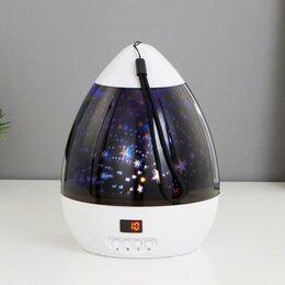 Ночники и декоративные светильники - RISALUX Ночник-проектор 16093/1 LED USB от батареек 4ААА бело-черный 14х14х11 см, 0