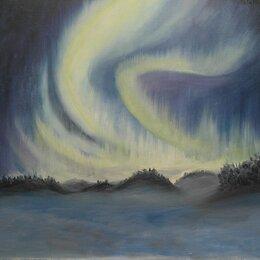 Картины, постеры, гобелены, панно - Северное сияние живопись , 0