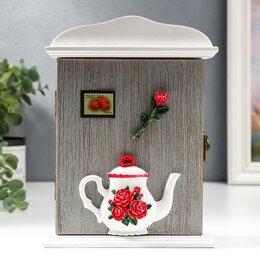 """Настенные ключницы и шкафчики - Ключница дерево 2 крючка """"Чайничек с розами"""" 20,5х6х15 см, 0"""