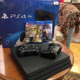 Игровые приставки - Sony Playstation PS4Pro 1Tb +2 джойстика , 0