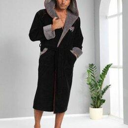 Домашняя одежда - Мужской махровый халат с капюшоном Nusa Triga 3XL черный. Турция, 0