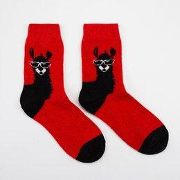 Домашняя одежда - Носки женские шерстяные Нжа6195-6 Лама цвет красный, р-р 23-25 (р-р обуви 36-40), 0