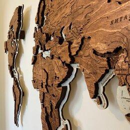 Картины, постеры, гобелены, панно - Карта мира из дерева, карта мира на стену , 0