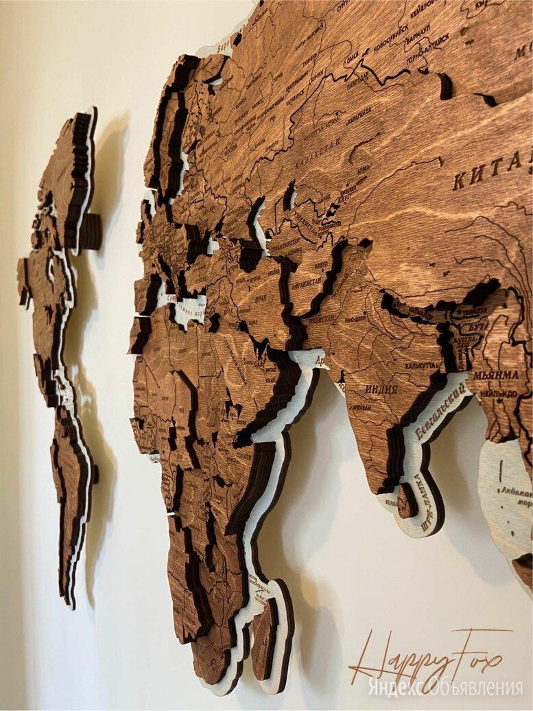 Карта мира из дерева, карта мира на стену  по цене 19500₽ - Картины, постеры, гобелены, панно, фото 0