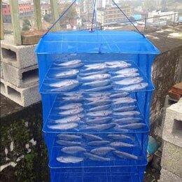 Сушилки для овощей, фруктов, грибов - Сетка сушилка большая 50Х50Х95 5 полок складная для рыбы и грибов, 0