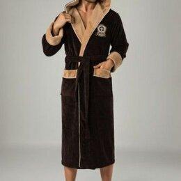 Домашняя одежда -  Халат мужской с капюшоном Nusa Us Polo 2XL коричневый. Турция , 0