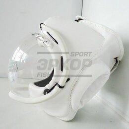 Шлемы - Шлем для единоборств прозрачная маска шнуровка искусст кожа белый (х3), 0