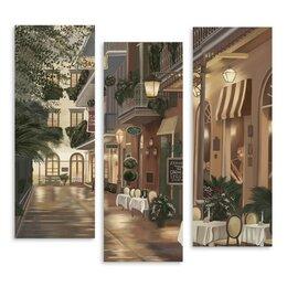 """Картины, постеры, гобелены, панно - Модульная картина """"Уличное кафе"""" 90*89 см, 0"""