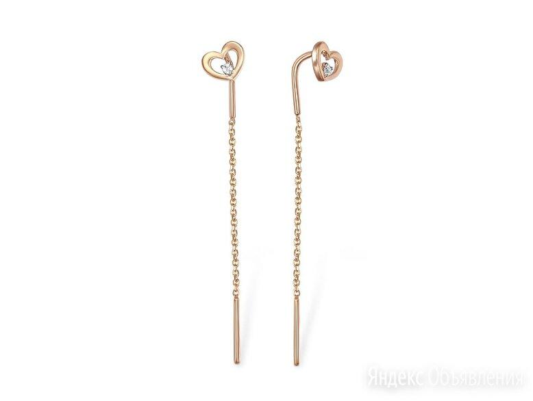 Серьги-продёвки с 2 фианитами из красного золота по цене 6448₽ - Серьги, фото 0