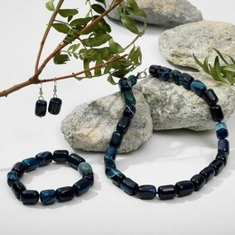 "Комплекты - Набор 3предмета: серьги, бусы, браслет ""Агат"" бочонок, цвет тёмно-синий, 0"