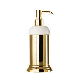 Мыльницы, стаканы и дозаторы - Migliore Mirella Дозатор жидкого мыла настольный, керамика, золото 27666+28143, 0