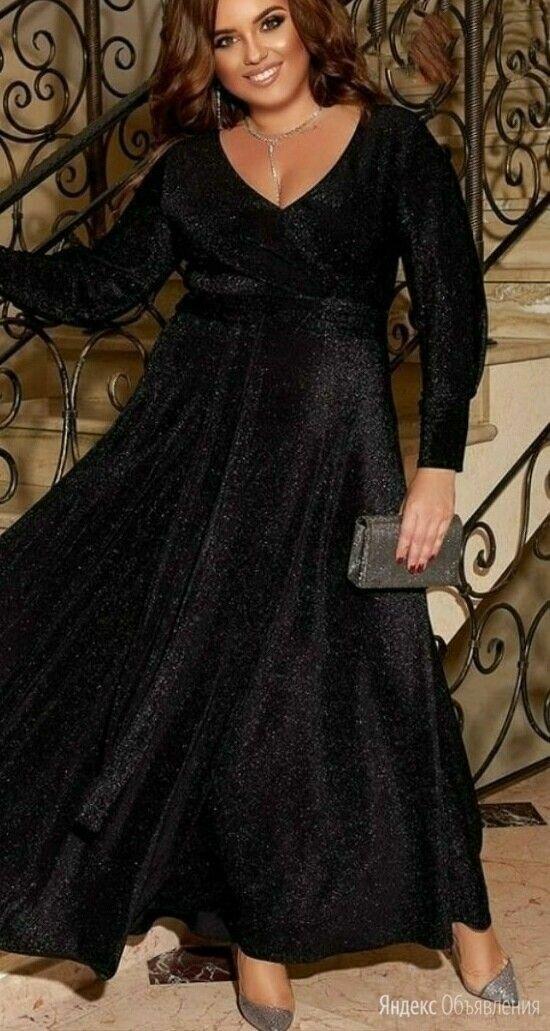 Длинное вечернее платье с люрексом р-ры 56-62 по цене 1750₽ - Платья, фото 0