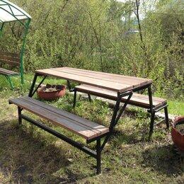 Комплекты садовой мебели - Садовый стол раскладной с лавочками, 0