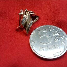 Серьги - Золотые серьги 585 пробы с цирконами, 0
