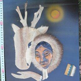 Картины, постеры, гобелены, панно - панно Чукча с оленем, мех северного оленя, 0
