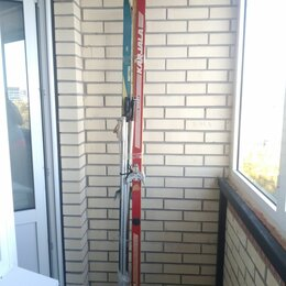 Беговые лыжи - Беговые лыжи 2 пары 220 и 200 см с палками и крепл, 0