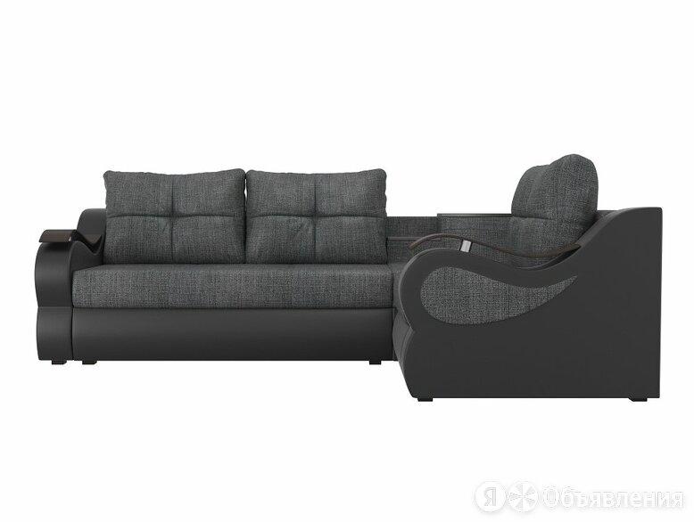 Угловой диван Митчелл Рогожка Серый Экокожа Чёрный правый угол по цене 39490₽ - Диваны и кушетки, фото 0