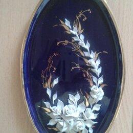 Декоративная посуда - Тарелка Декоративная настенная кобальт с лепниной, 0