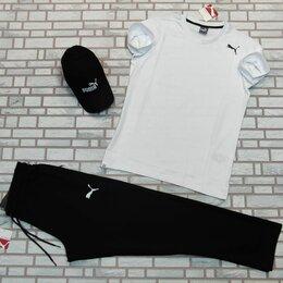 Спортивные костюмы - Комплект футболка и штаны пума белый с черным, 0