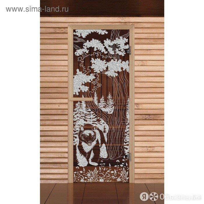 Дверь для бани и сауны Мишка в лесу, бронза, 6мм, УФ-печать, 190х70см, Доб... по цене 9322₽ - Аксессуары, фото 0