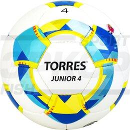 Развивающие игрушки - Мяч футбольный Torres Junior 4 №4 глянц ПУ 3 слоя ручн сш бело-жёлт-голуб, 0