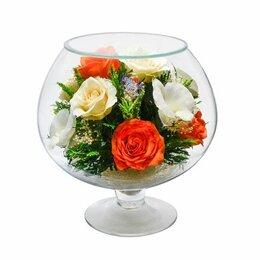 Цветы, букеты, композиции - Композиция из натуральных роз 23*21 см., 0