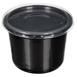 Контейнеры и ланч-боксы - Контейнер черный суповой с крышкой К-115 0,35л 50/500, 0