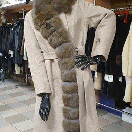 Пальто - Пальто шерсть с мехом песца 42-44 , 0